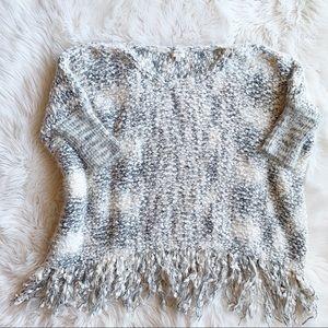 Umgee Chunky Fringe Poncho Sweater